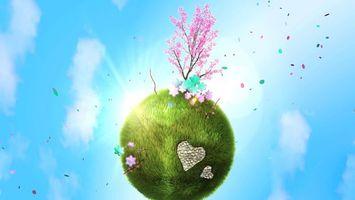 Бесплатные фото любовь,сердце,дерево,цветы,облака,розовый,природа