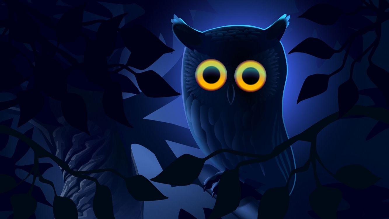 Фото бесплатно сова, круглые, большие, глаза, ночь, ветки, листья, рисунок, животные, рендеринг, рендеринг