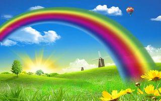 Фото бесплатно трава, цветы, деревья, ветряные, мельницы, радуга, воздушный, шар, небо, облака, солнце, разное