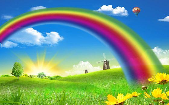 Бесплатные фото трава,цветы,деревья,ветряные,мельницы,радуга,воздушный,шар,небо,облака,солнце,разное