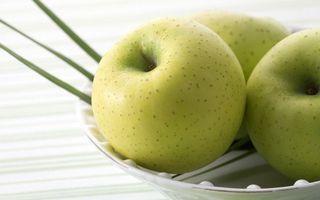 Бесплатные фото яблоки,зеленые,тарелка,белая,вкусно,красиво,еда