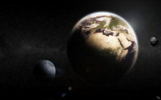 Бесплатные фото земля,планета,луна,спутник,звезды,галактики,скопления