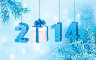 Обои 2014, год, подарок, хвоя, ель, снег, снегопад, цифры, зима, новый год