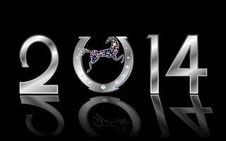 Обои 2014, цыфры, надпись, подкова, лошадь, инкрустация, отражение, черный, фон, новый год