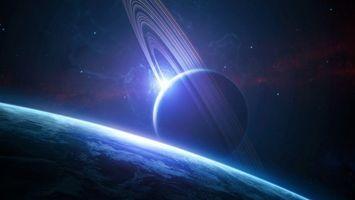 Бесплатные фото космос,сияние,планеты,кольца,свет,орбита,сатурн
