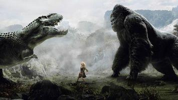 Фото бесплатно кинконг, динозавр, битва