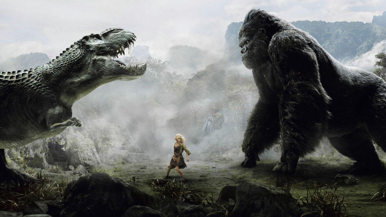 Фото бесплатно кинконг, динозавр, битва, девушка, ситуации, ситуации