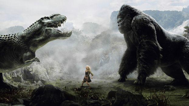 Бесплатные фото кинконг,динозавр,битва,девушка,ситуации