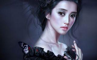Заставки бабочка, ящерица, волосы, глаза, взгляд, платье, губы, девушки