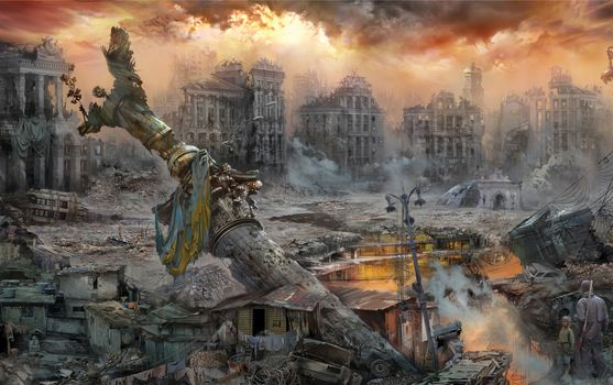 Бесплатные фото битва,киев,руины,пожар,картина,битва за украину,война,иван хивренко,город
