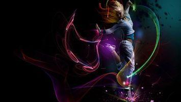Фото бесплатно блондинка, девушка, танец, костюм, спортивный, графика, свет, волны, движения, кроссовки, девушки, спорт