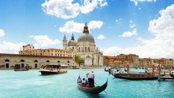 Заставки дома, здания, венеция, река, вода, лодки, небо