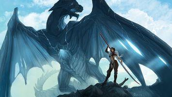 Бесплатные фото dragon,female,sword,sky,blue,фантастика