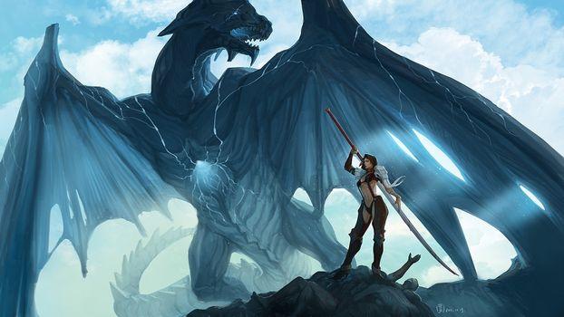 Photo free dragon, female, sword