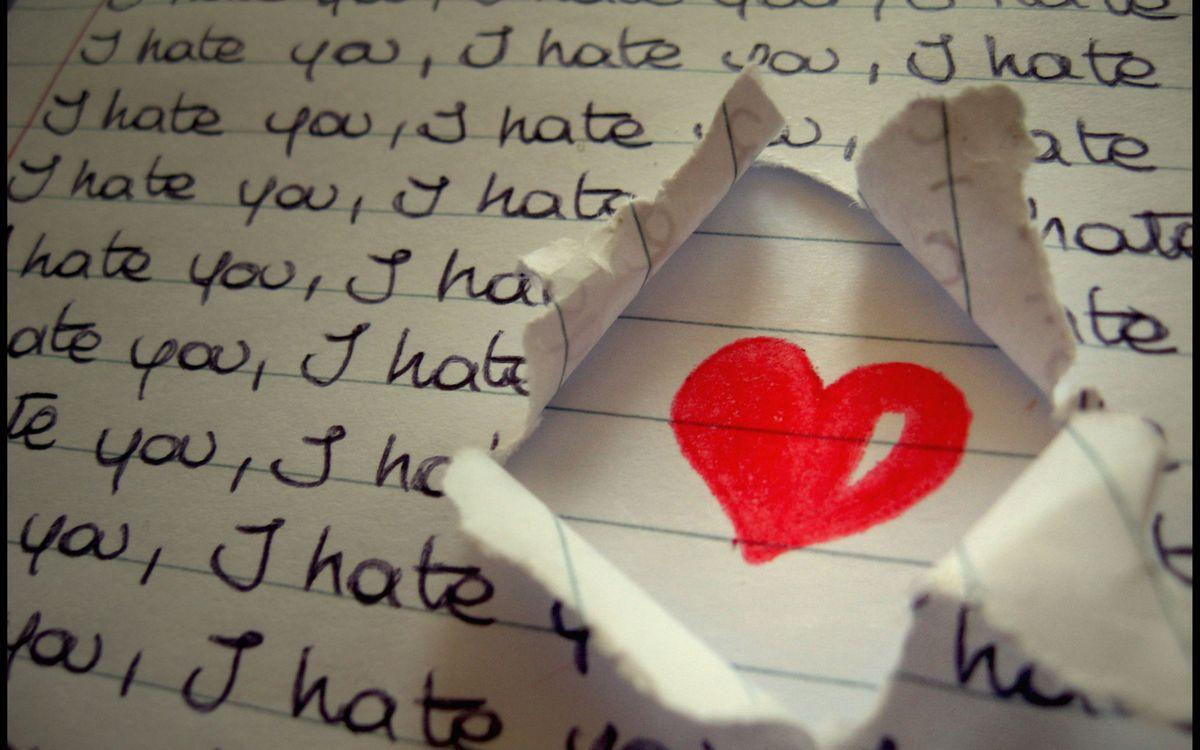 Фото бесплатно сердце, бумага, текст, i hate you, линии, разное, стиль, стиль