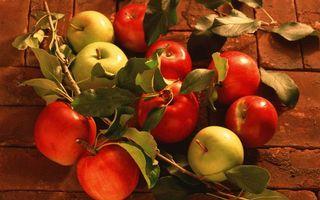 Заставки фрукты, яблоки, красные, зеленые, ветки, листья, еда