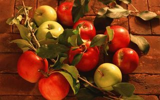 Photo free apples, red, leaves