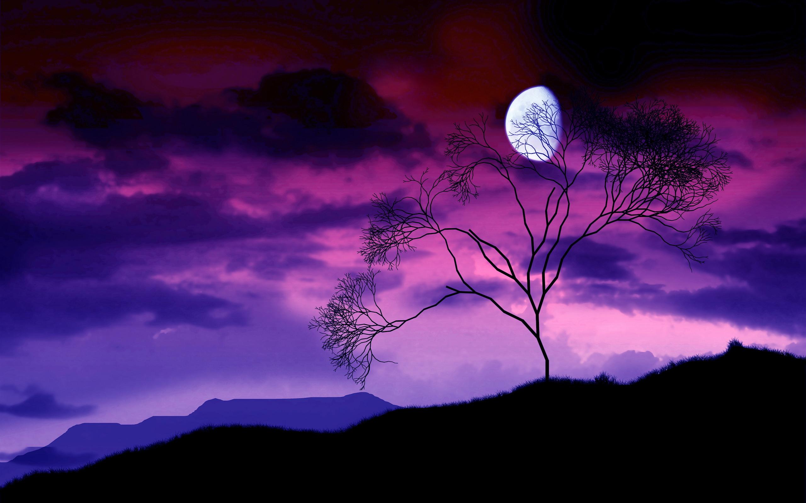 горы, дерево, небо