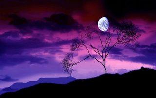 Заставки горы, дерево, небо, облака, луна, природа, пейзажи