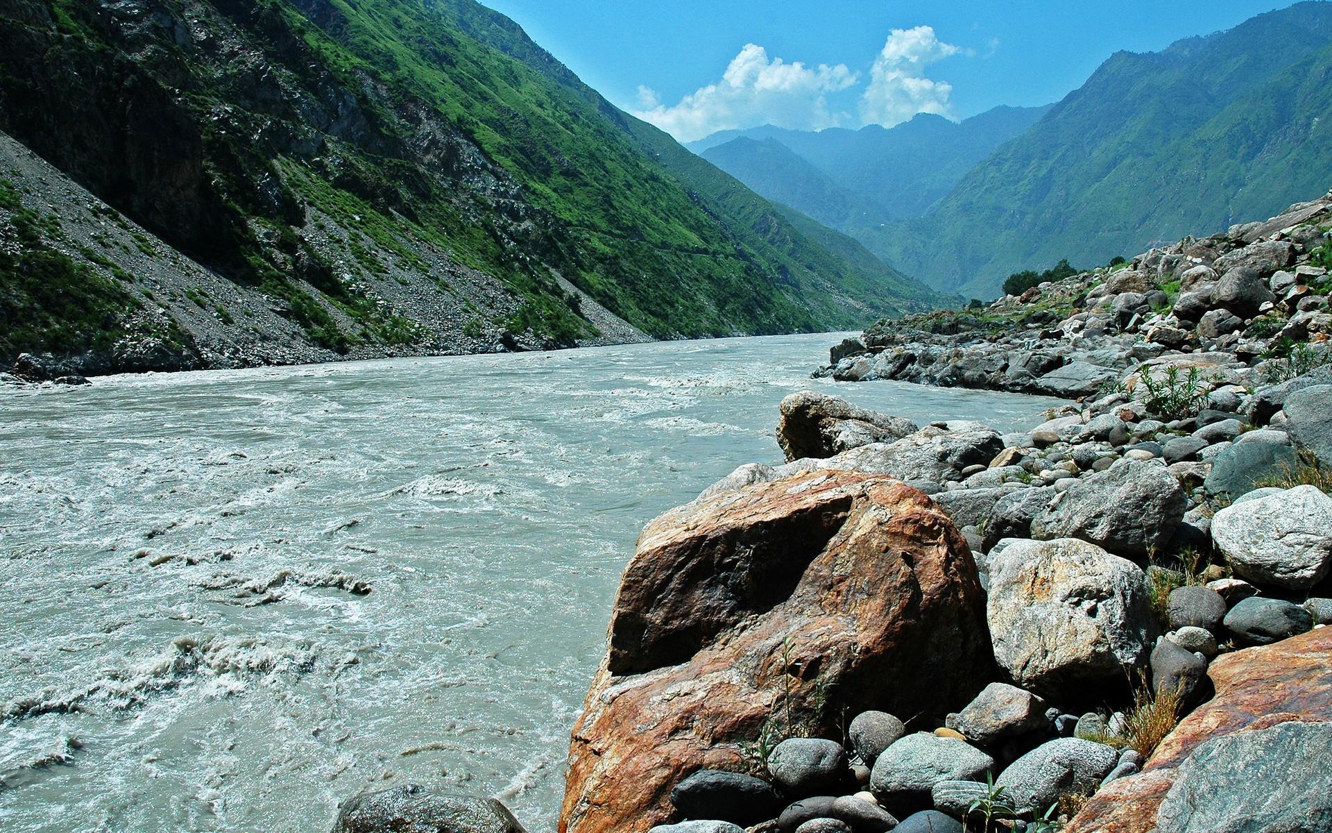 горы, камни, река