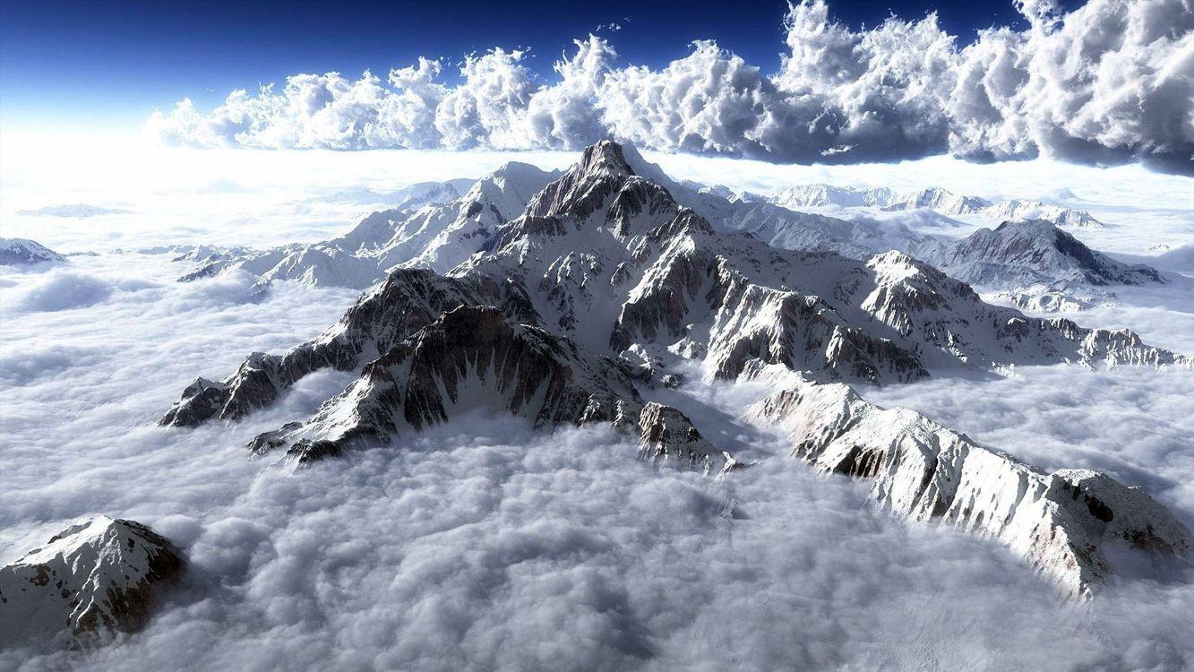 Фото бесплатно горы, вершина, снег, облака, небо, высота, природа, природа