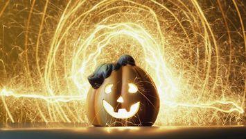 Бесплатные фото хэллоуин,тыква,морда,фейерверк,искры,свет,праздники