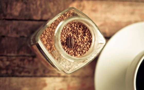 Фото бесплатно кофе сублимированный, зерно, чашка
