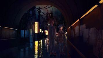 Бесплатные фото лужи,дождь,стены,город,ночь,люди,аниме