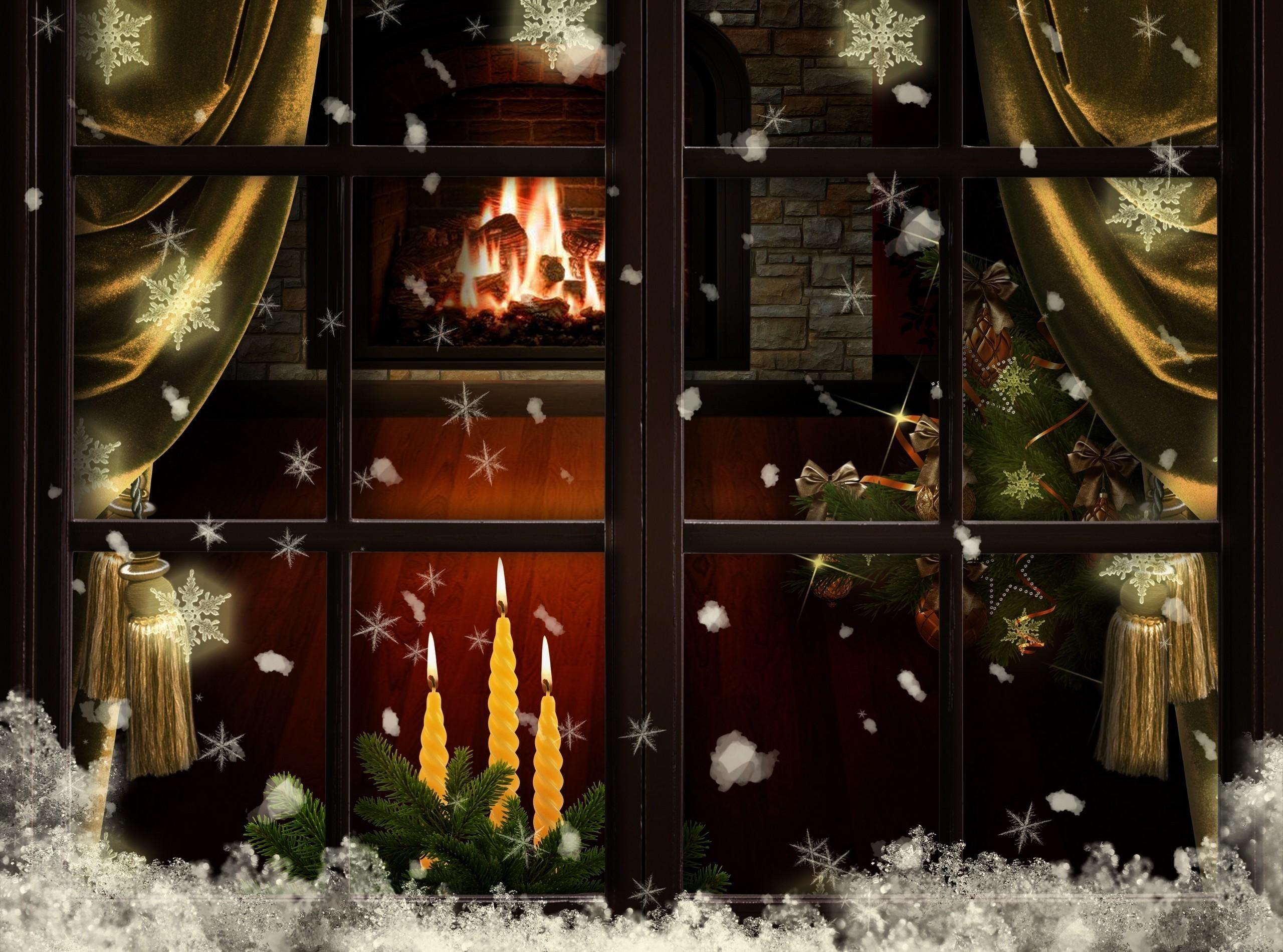 окно, свечи, снег