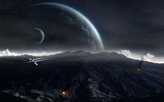 Фото бесплатно планеты, корабли, огонь