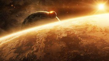 Фото бесплатно планеты, спутники, удар