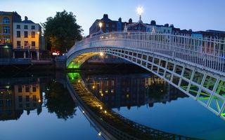 Photo free sky, houses, bridge