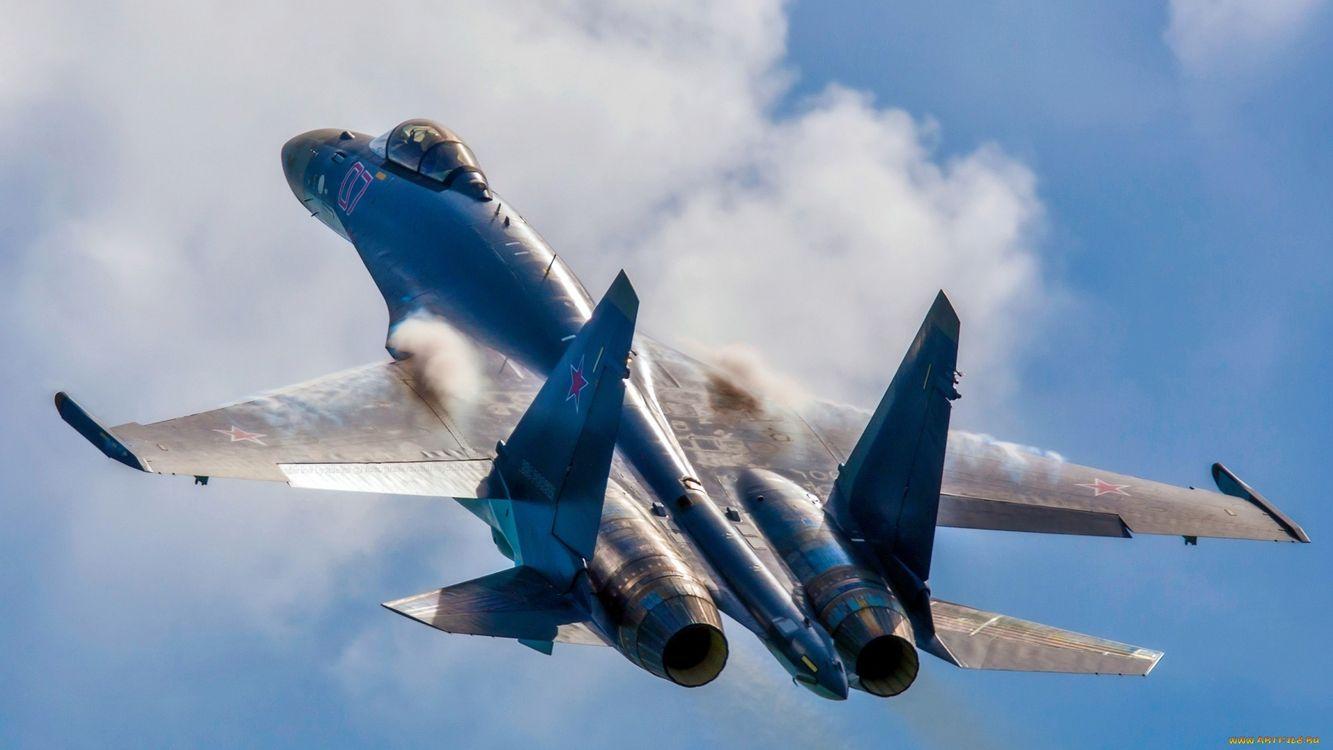 Фото бесплатно су-34, самолет, истребитель, крылья, дым, кабина, небо, авиация, авиация