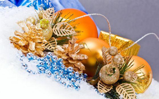 Бесплатные фото шарики,елочный,игрушки,ветка,елка,сосна,шишки,бусы,ленточки,подарок,новый год,настроения