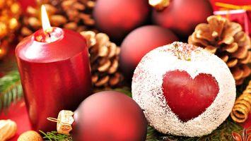 Заставки свеча, яблоко, красный, шишки, игрушки, шарики, разное