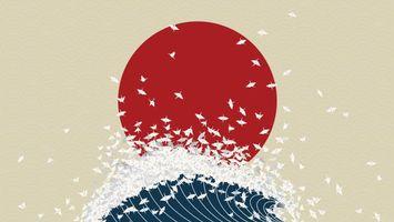 Фото бесплатно минимализм, птички, оригами, красное солнце, волна