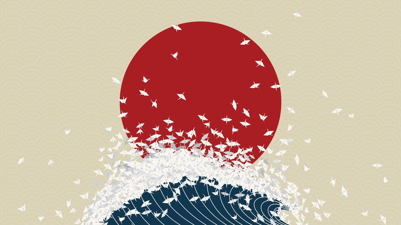 Фото бесплатно минимализм, птички, оригами, красное солнце, волна, разное
