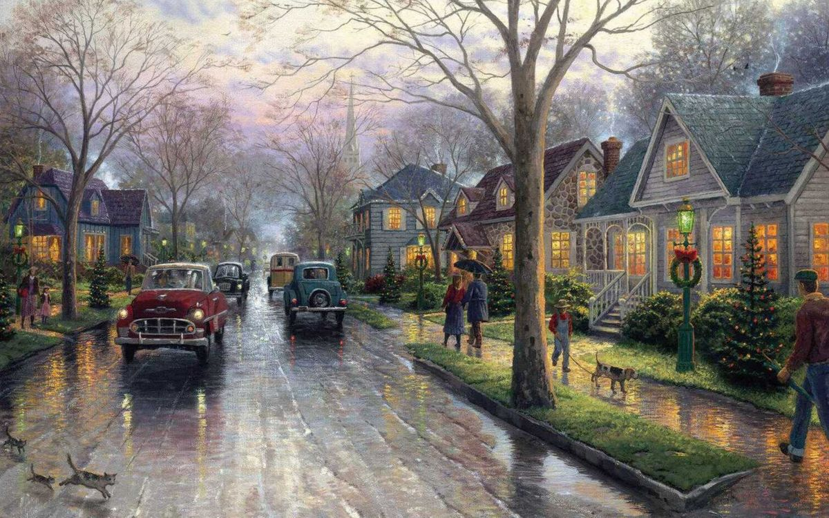 Фото бесплатно painting, hometown christmas, christmas, christmas tree, thomas kinkade, christmas decoration, разное - скачать на рабочий стол