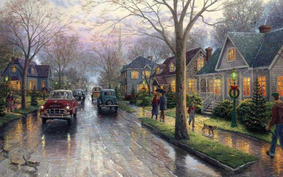 Бесплатные фото painting,hometown christmas,christmas,christmas tree,thomas kinkade,christmas decoration