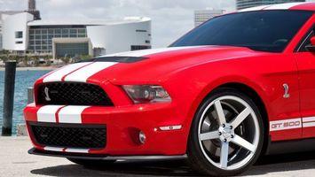 Обои ford, mustang, автомобиль, колеса, диски, шины, бампер, фары, крыша, дом, асфальт, машины