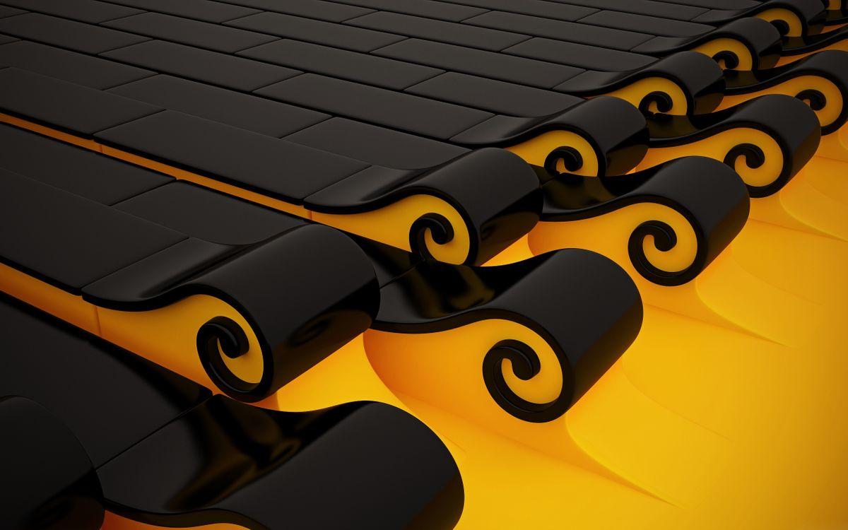 Фото бесплатно графика, завитушки, желтый - на рабочий стол