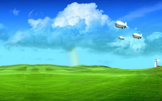 Бесплатные фото холмы,трава,маяк,дирижабли,небо,облака,радуга,разное