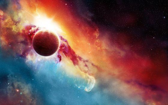 Photo free space, planet, nebula