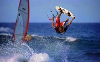 Заставки парусный спорт,лодка,вейкбординг,море,океан,вода,волны
