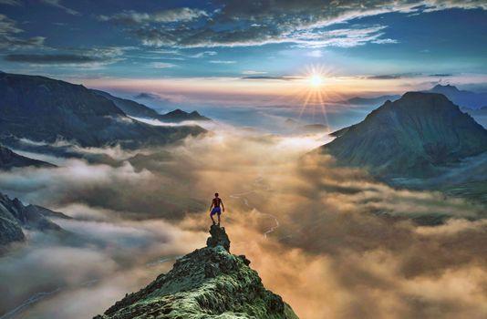 Фото про пейзаж, горы, солнце