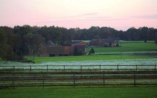 Фото бесплатно поле, трава, огород, участок, дома, крыши, небо, забор, ограждения, закат, природа, пейзажи