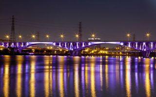 Бесплатные фото река, мост, фонари, свет, отражение, дома, ночь