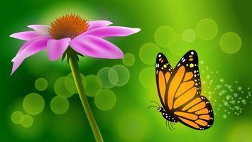 Обои розовый, цветок, бабочка, порхает, зеленый, фон, рисунок, насекомые, рендеринг, цветы