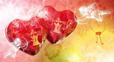 Фото бесплатно сердца, красные, замки