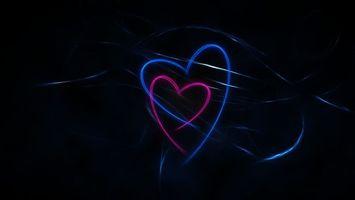 Бесплатные фото серца, разноцветные, свет, неон, лучи, темнота, разное